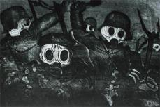 Otto Dix; The War Shock Troops Advance Under Gas; 1924; etching and drypoint; 19.6 x 29.1 cm; Art Institute of Chicago