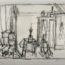 Alberto Giacometti; Chien, Chat, Tableau (Dog, Cat, Picture); 1956; lithograph; 38.3 x 52.6 cm; Fine Arts Museums of San Francisco