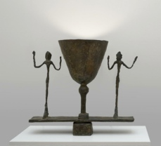 Alberto Giacometti; Lampe avec deux figures (Lamp with Two Figures); 1949-50; bronze; 33.97 x 37.15 x 18.42 cm; San Francisco Museum of Modern Art