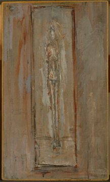 Alberto Giacometti; Standing Figure in Box; 1948; oil on canvas; 26.7 x 15.9 cm; Yale University Art Gallery, Modern and Contemporary Art