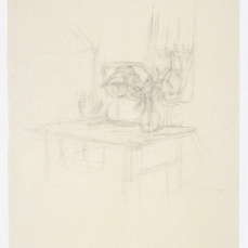 Alberto Giacometti; Table Before Dormer Window; 1950; graphite; 51.2 x 35.7 cm; National Gallery of Art