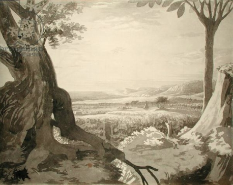 Philipp Otto Runge, Nile Valley Landscape, 1805-6, grey pencil on paper 39.8 x 50.1 cm.., Hamburg Kunsthalle.
