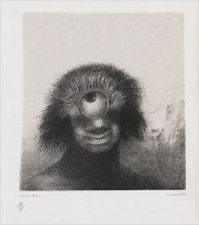 The misshapen polyp floated on the shores, a sort of smiling and hideous Cyclops,plate 3 from Les Origines,by Odilon Redon, 1883