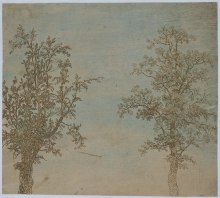 two trees aquatint etching