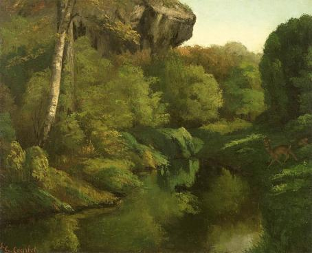 Jean Gustave Courbet; View of the Forest of Fontainebleau; 1855; oil on canvas