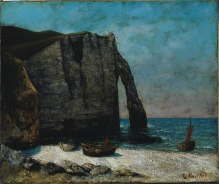 Jean Gustave Courbet; Sea and Rocks at Etretat