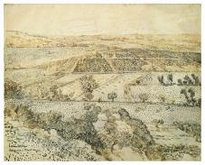 Vincent van Gogh; La Crau Seen from Montmajour; 1888; pencil, reed pen, brown and black ink on paper; 49 x 61 cm