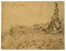 Vincent van Gogh; Wheat Field with Cypresses; 1889; reed pen, pen and ink, graphite on wove paper; 47.1 cm x 62.3 cm; Van Gogh Museum