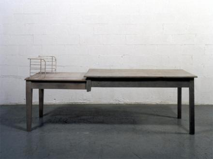 Doris Salcedo; Unland, irreversible witness; 1995-8; wood, cloth, metal and hair; 44 x 98 x 35 inches