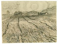 Vincent van Gogh; Walled Wheat Field with Rising Sun; 1889; black chalk, reed pen, pen and ink on laid paper; 47.4 x 62 cm; Staatliche Graphische Sammlung, München