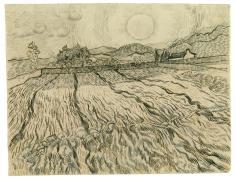 Vincent van Gogh; Walled Wheat Field with Rising Sun; 1889; black chalk, reed pen, pen and ink on laid paper; 47.4 x 62 cm; Staatliche Graphische Sammlung, München