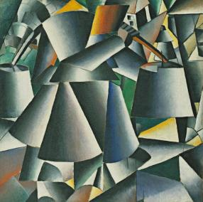 Kazimir Malevich; Woman with Pails: Dynamic Arrangement; 1912-13; oil on canvas; 80.3 x 80.3 cm; The Museum of Modern Art