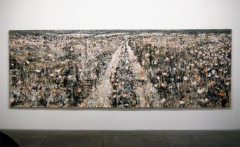 Anselm Kiefer; Bäumen liegt an Meer; 1996; oil on canvas; 74.75 x 220 inches