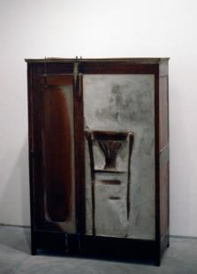 Doris Salcedo; Untitled; 1995; wood, cement, steel; 63.75 x 42.5 x 17.5 inches