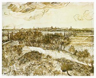 Vincent van Gogh; View of Arles from Montmajour; 1888; pencil, reed pen, quill pen and ink on paper; 48.6 x 60 cm; Nasjonalgalleriet, Oslo, Norway