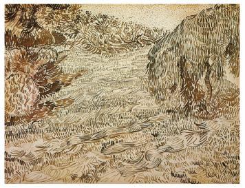 Vincent van Gogh; Garen with Weeping Tree; 1888; reed pen, brown and black ink on wove paper; 24.1 x 31.5 cm