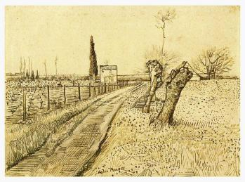 Vincent van Gogh; Path Through a Field with Pollarded Windows; 1888; pencil, pen and brown ink on wove paper; 25.5 x 34.5 cm; Van Gogh Museum, Amsterdam