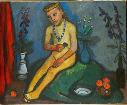 Paula Modersohn-Becker; Nude Girl with Vase of Flowers; c.1907; oil on canvas; 89 x 109 cm; Von der Heydt-Museum