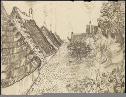 Vincent van Gogh; Steet in Saintes-Maries-de-la-Mer; c.1888; reed pe, quill, and ink over chalk on wove paper; 24.3 x 31.7 cm; The Metropolitan Museum of Art