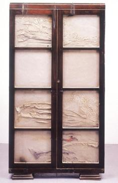 Doris Salcedo; Untitled; 1998; wood, concrete, glass, fabric, metal; 183.5 x 99.5 x 33 cm