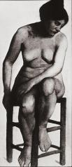 Paula Modersohn-Becker; Woman on a Stool; 1899-1900; charcoal; 59.2 x 28.3 cm