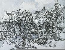 Vincent van Gogh; Garden Behind Houses; 1890; watercolor, oil on paper