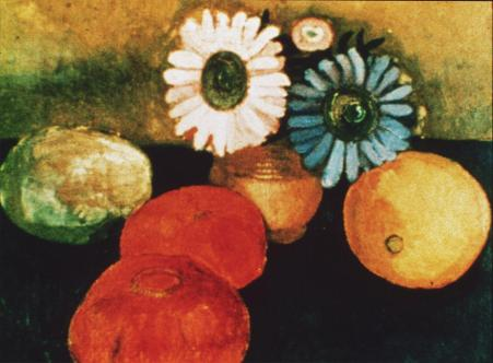 Paula Modersohn-Becker; Still Life with Fruit & Flower; 1906; oil on canvas; 30.5 x 34.9 cm