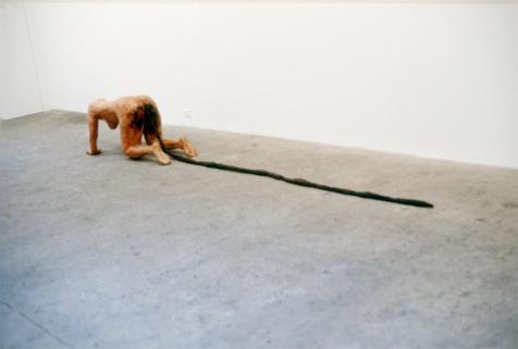 Kiki Smith; Tale; 1992; wax, pigment, paper maché; 160 x 23 x 23 inches