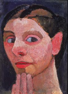 Paula Modersohn-Becker; Self Portrait with Hand on Chin; 1906-7; oil on wood; 29 x 19.5 cm