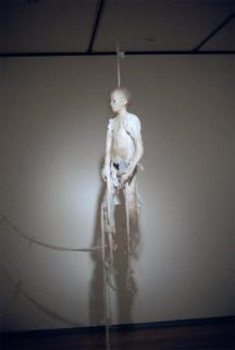Kiki Smith; Pupet; 2000; nepal paper, muslin, glass, 54 inches high