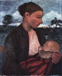 Paula Modersohn-Becker; Peasant Woman and Child; c. 1903; oil on canvas; 69 x 58 cm