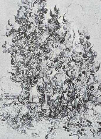 Vincent van Gogh; Cypresses; 1889; pen, ink, pencil