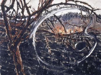Anselm Kiefer; Painting of the Scorched Earth (Malerei der verbrannten Erde); 1974; oil on burlap; 95 x 125 cm; This work brings to mind not only the scorched earth policy of the Nazi but also the cruelty and destructiveness of the Roman emperor Nero.