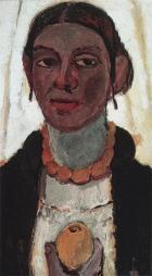 Paula Modersohn-Becker; Self Portrait with Lemon; 1907 oil on cardboard; 50 x 27.2 cm