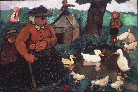 Paula Modersohn-Becker; Poorhouse Woman at Duck Pond; 1904; oil on canvas; 16 1/2 x 24 5/8 inches