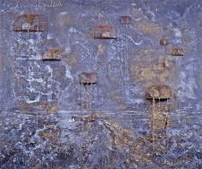 Anselm Kiefer; Heavenly Palaces; 2004; oil, emulsion, and acrylic on canvas with wire cages; 280 x 330 cm