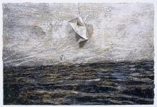 Anselm Kiefer; In the Beginning (Am Anfang); 2003; oil , acrylic, and emulsion on canvas with polyhedron; 190 x 280 cm