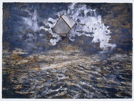 Anselm Kiefer; Melancholia; 2004; oil, acrylic, and emulsion on canvas with glass polyhedron; 281 x 382 cm