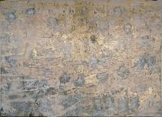 Anselm Kiefer; Les Reines de France; 1995; emulsion, acrylic, sunflower seeds, photographs, woodcut, gold leaf, and cardboard on canvas; three panels, 18 feet 4.5 inches x 24 feet 2.5 inches; Guggenheim Museum, NY