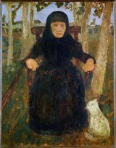 Paula Modersohn-Becker; Old Woman Sitting, With a Cat; 1904