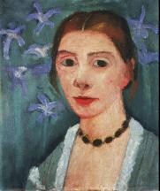 Paula Modersohn-Becker; Self Portrait on Green Background with Blue Irises; 1905-6; 40.7 x 35.4 cm