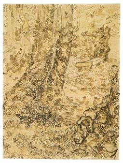 Vincent van Gogh; Tree with Ivy in the Garden of the Asylum at Saint Rémy; 1889; reed pen, pen and ink, graphite on wove paper; 62.3 x 47.1 cm