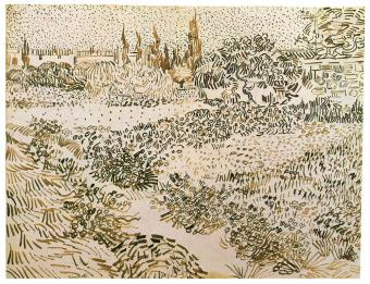 Vincent van Gogh; Flowering Garden; 1888; pencil, reed pen and brown ink on wove paper; 241 x 314 cm