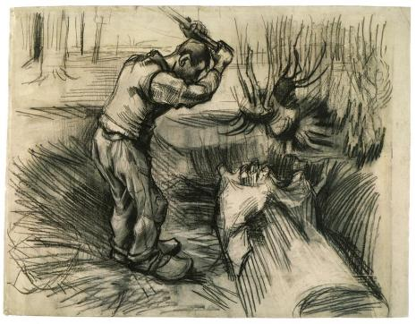 Vincent van Gogh; Woodcutter; 1885; black chalk and wash on laid paper; 45 x 55.5 cm; Van Gogh Museum, Amsterdam