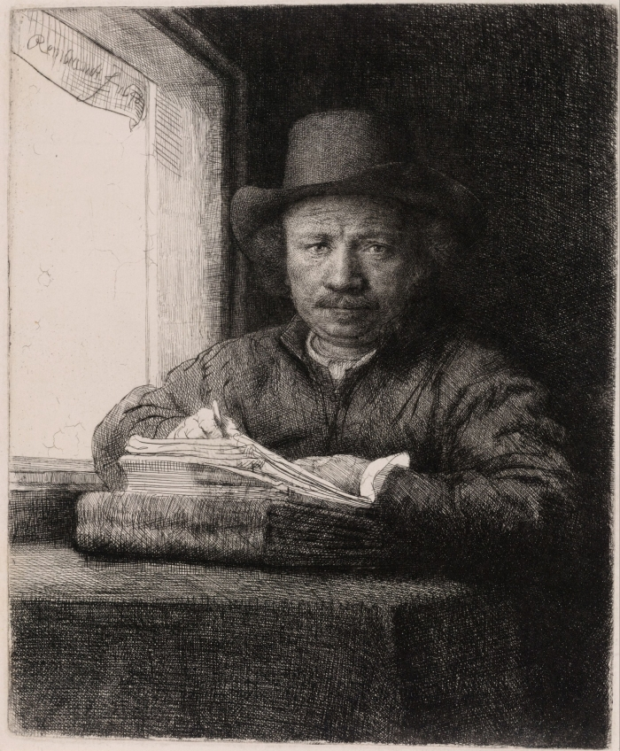 Rembrandt_Harmenszoon_van_Rijn_-_Self_Portrait_Drawing_at_a_Window