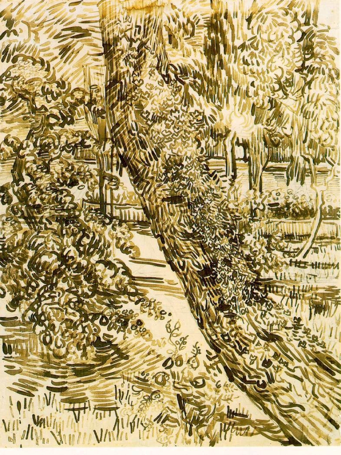 Vincent Van Gogh, reed pen and brown ink on Ingres paper, 24 x 18 1_4 inches (61 x 47 cm), Rijksmuseum Vincent Van Gogh, Amsterdam, copy