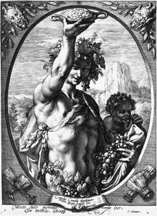 Hendrik Goltzius; Bacchus in Half Length; engraving