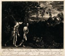 Hendrik Goudt; Tobias with the Angel, Dragging the Fish; 1613; engraving; 19.8 x 25.8 cm; Fine Arts Musuems of San Francisco