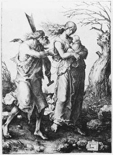 Lucas van Leyden; Adam and Even After the Expulsion from Paradise; 1510; engraving; 164 x 119 mm