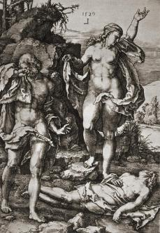 "Lucas van Leyden; Adam and Eve Series, ""Lamentation Over Abel's Corpse""; 1529; engraving"
